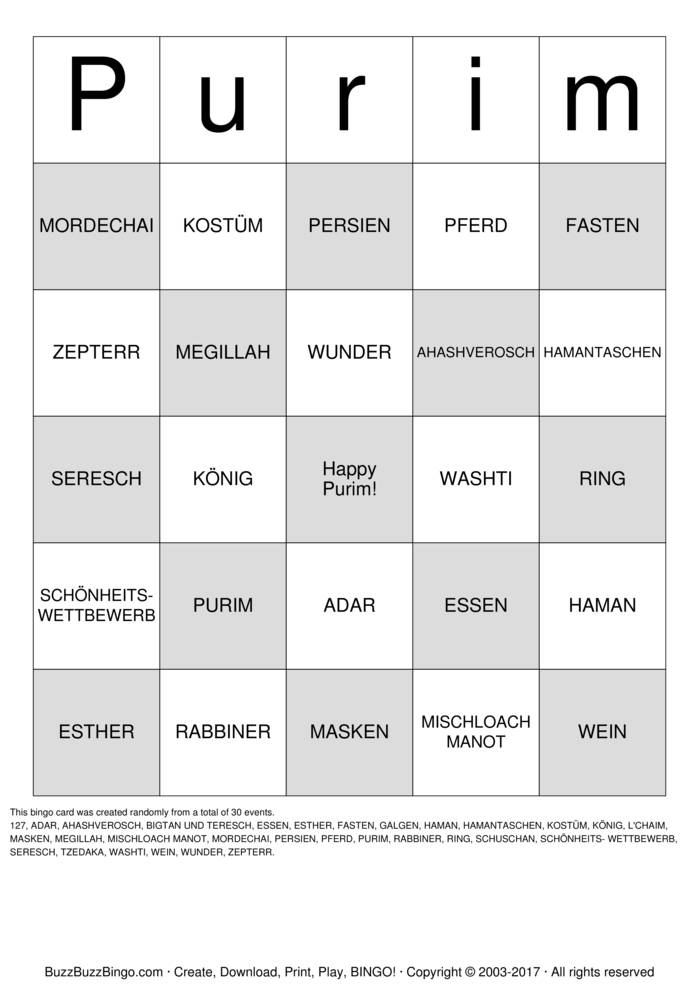 Download Free PURIM Bingo Cards