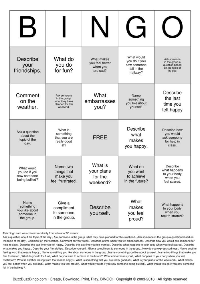 Download Social Skills  Bingo Cards