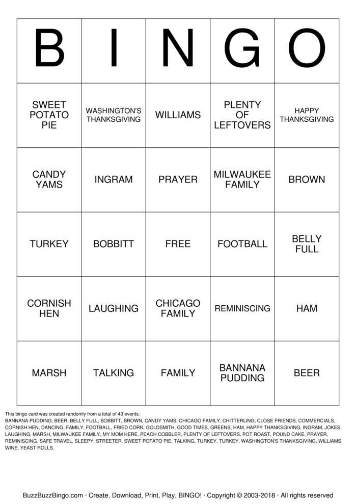 Download Free WASHINGTON'S THANKSGIVING Bingo Cards