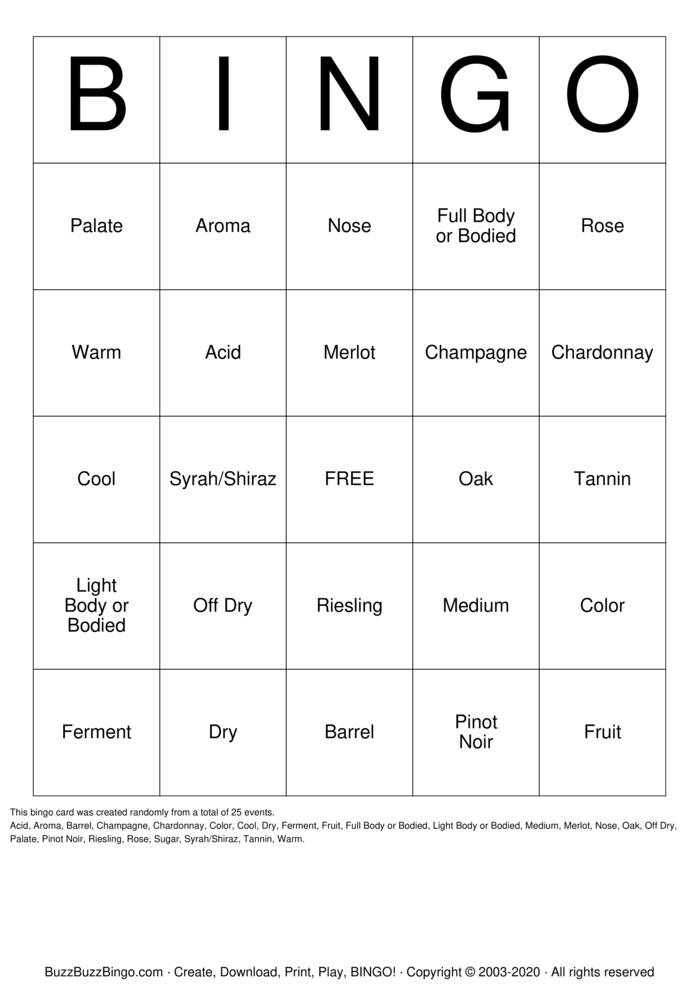 Download Free Wine-O Bingo Cards