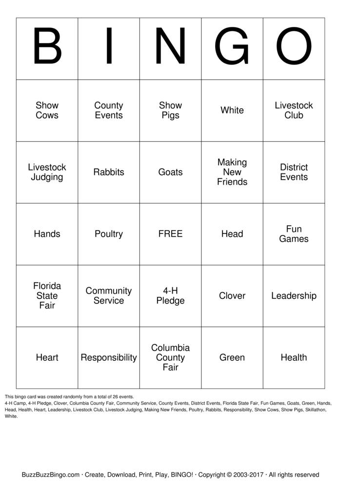 photograph about 4-h Pledge Printable referred to as 4H Bingo Bingo Playing cards toward Down load, Print and Personalize!