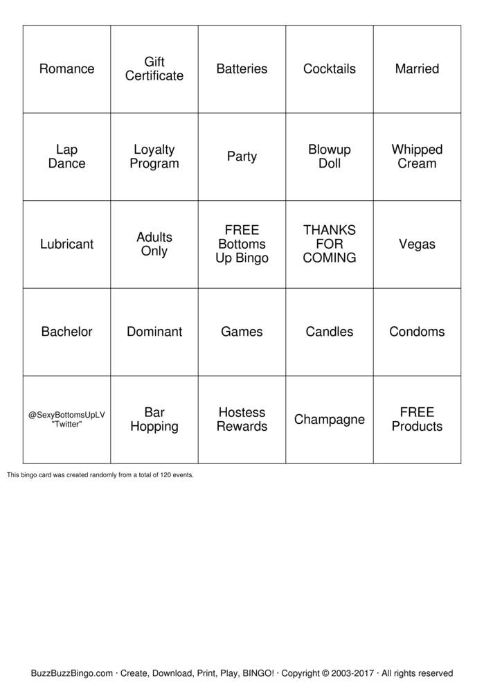 Download Bottoms Up Lingerie  Bingo Cards