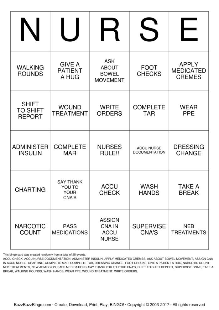 Download Free CNA Bingo Cards