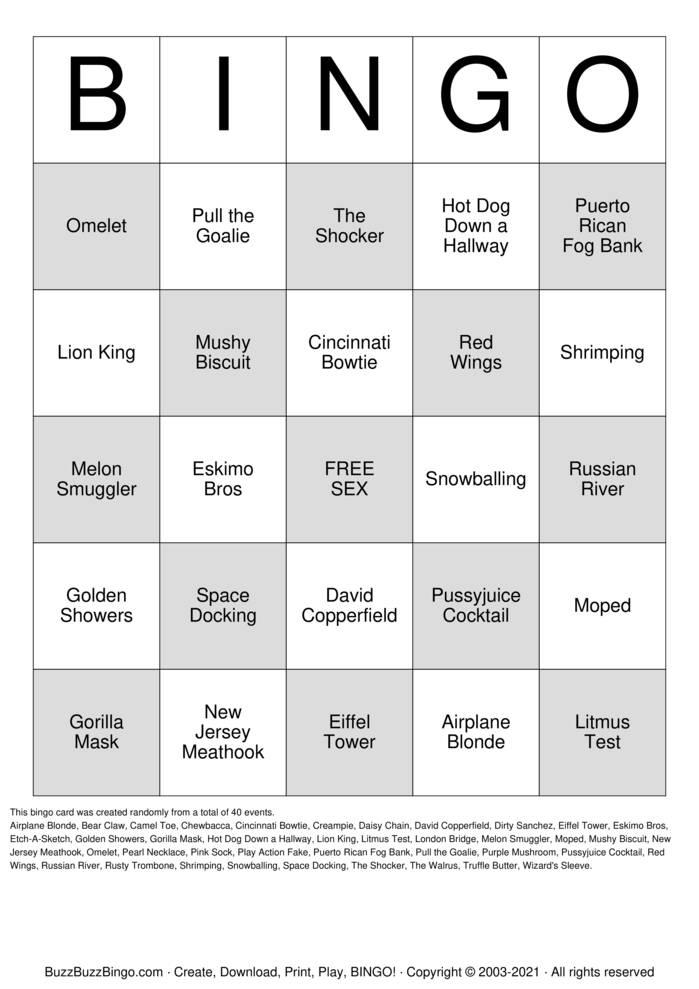 Download Free DIRTY BINGO Bingo Cards