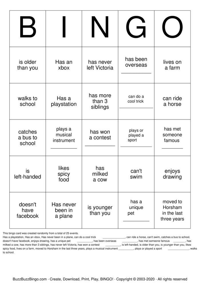 Download Free OHA People Bingo Bingo Cards