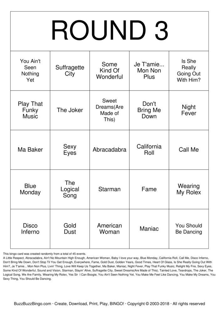 Download Free Rock 'N' Roll 3 Bingo Cards