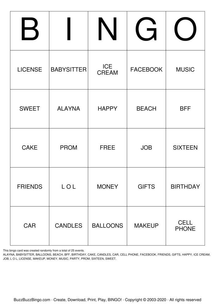 Download Free  Sweet 16 Bingo Bingo Cards