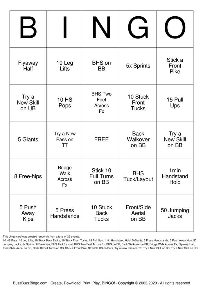 Download Free gymnastics Bingo Cards