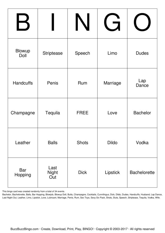 Download Bachelorette Party Bingo Cards