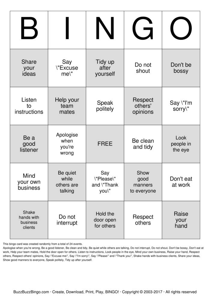 Download Free Business manners Bingo Cards