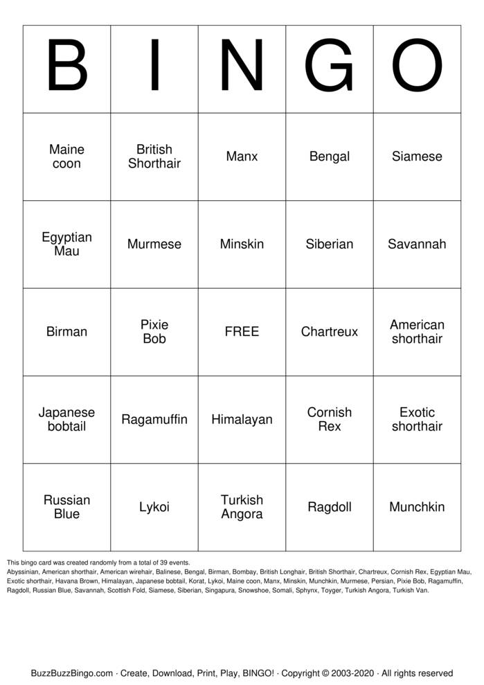 Download Free Cats Bingo Cards