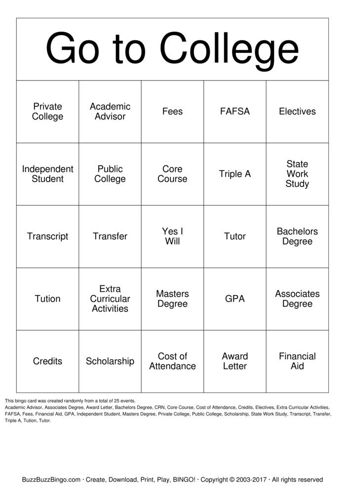 College Bingo Card