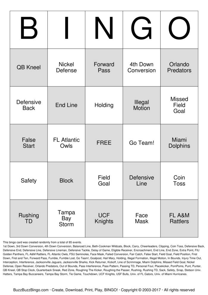 Download Free Florida Football Bingo Bingo Cards