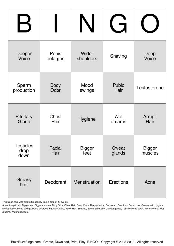 Download Free It's Puberty ! Bingo Cards