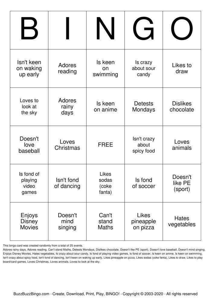 Download Free Likes / Dislikes Bingo Cards