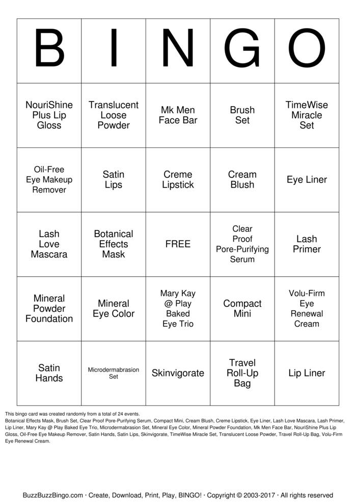 Mary Kay Bingo Card