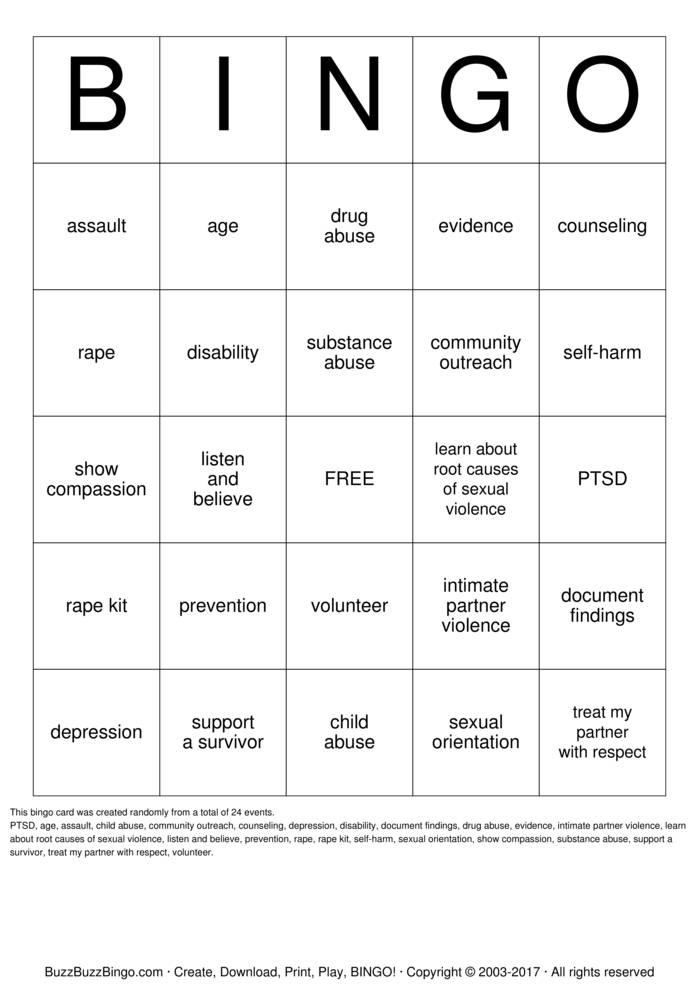 Download Free Sexual Assault Bingo Cards