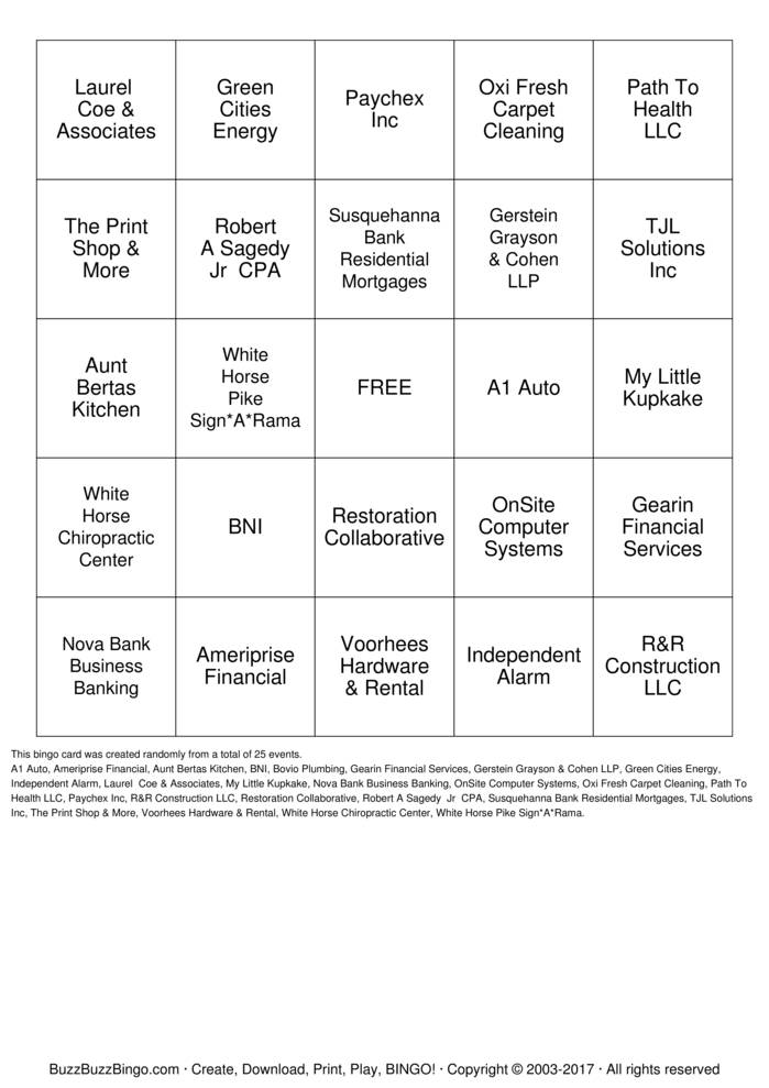 Voorhess Central Chapter  Bingo Card