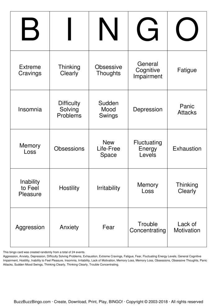 Download Free addiction Bingo Cards