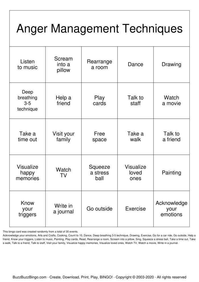 Download Free Anger Management Techniques Bingo Cards