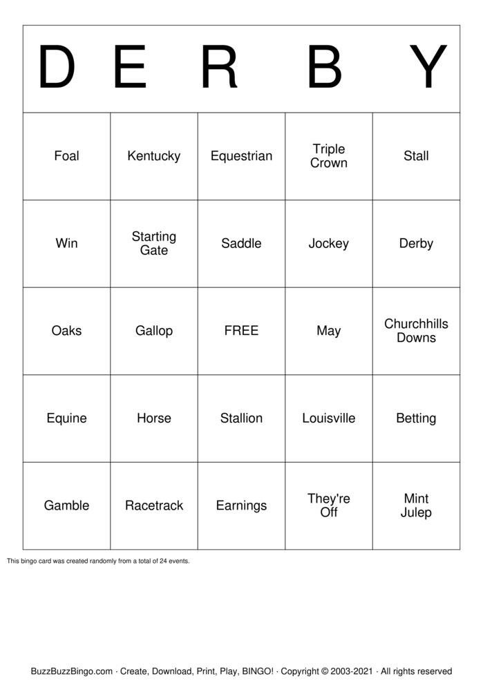 Download Free Derby Bingo Cards