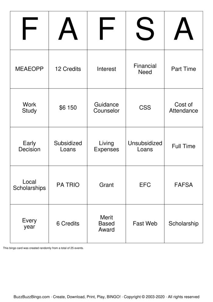 Download Free FAFSA Bingo Cards