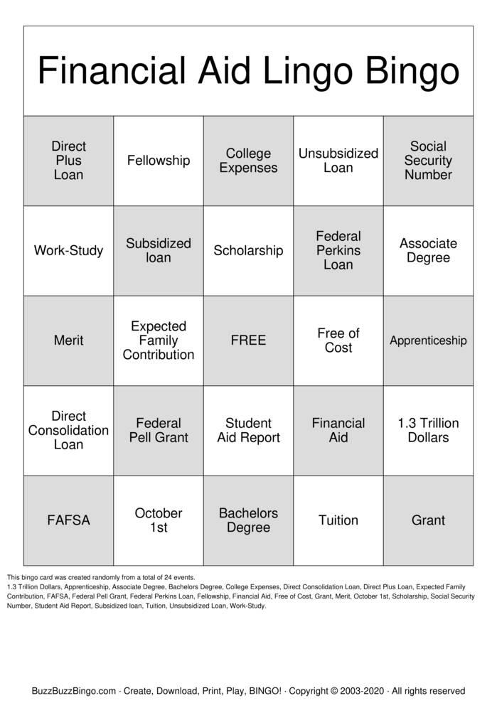 Download Free Financial Aid Lingo Bingo Cards