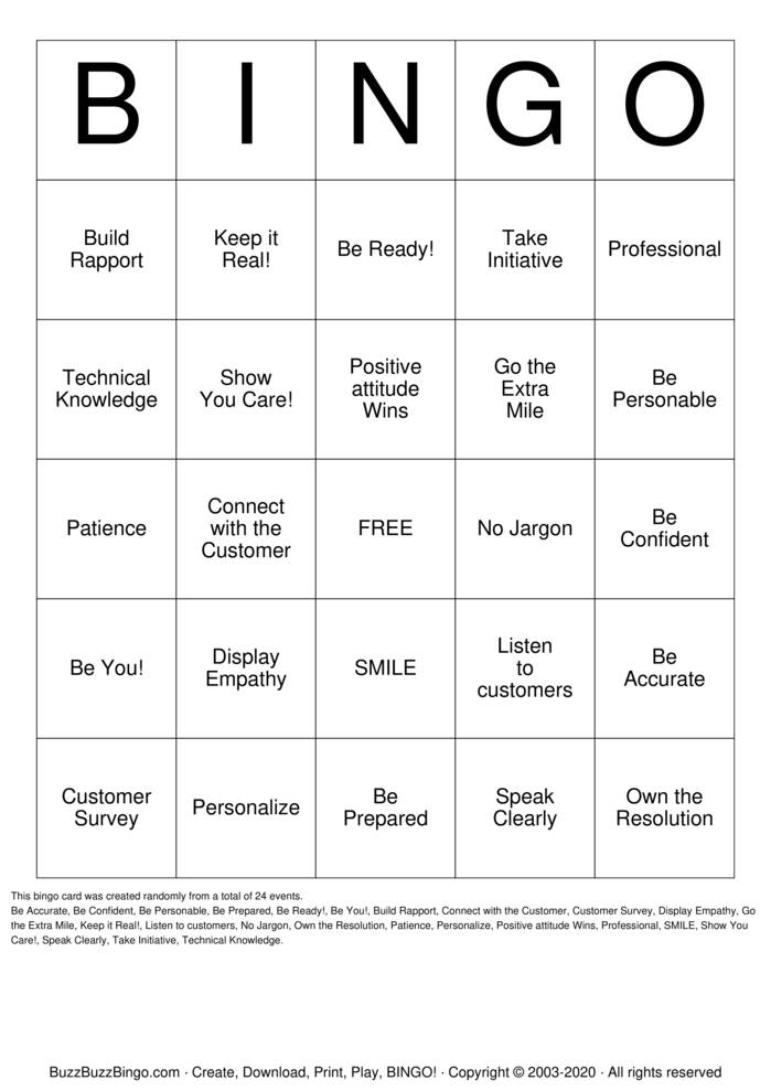 Download Free HIE Customer Service Bingo Cards