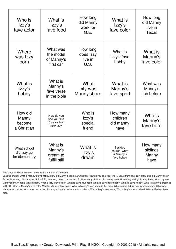 Download Free How well do you know Manny and Izzy? Bingo Cards
