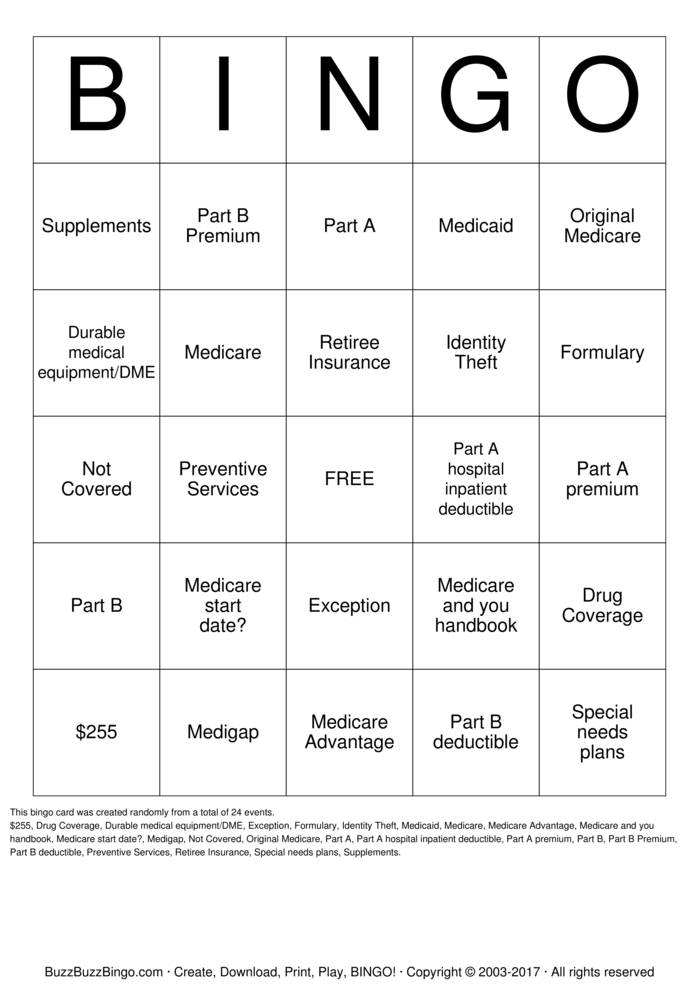 Medicare Bingo Bingo Card