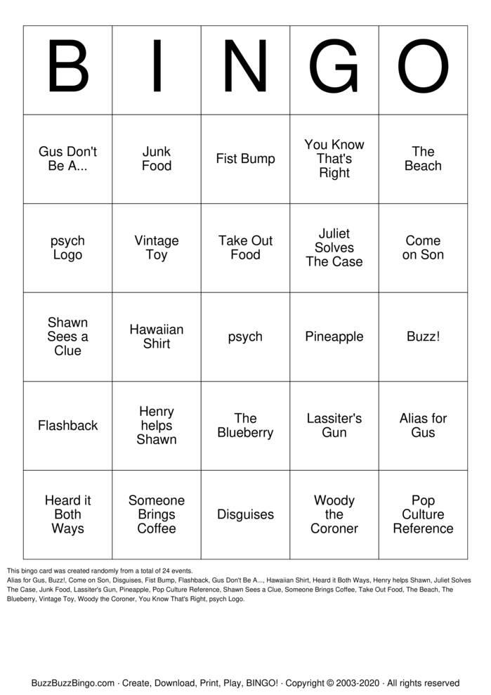 Download Free psych Bingo Cards