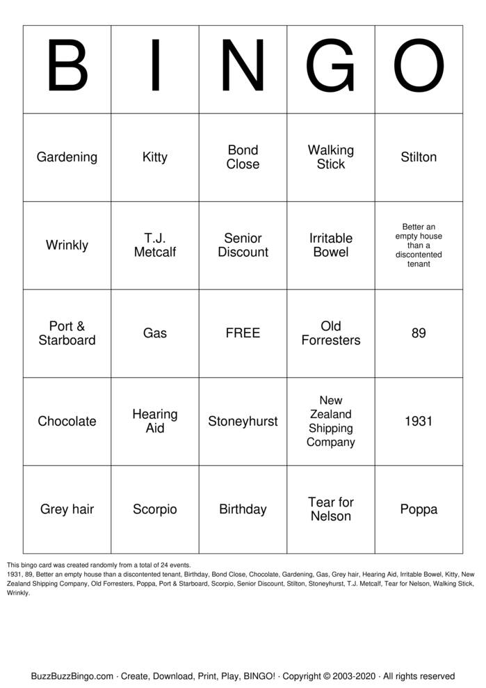 Download Free 90th Birthday  Bingo Cards