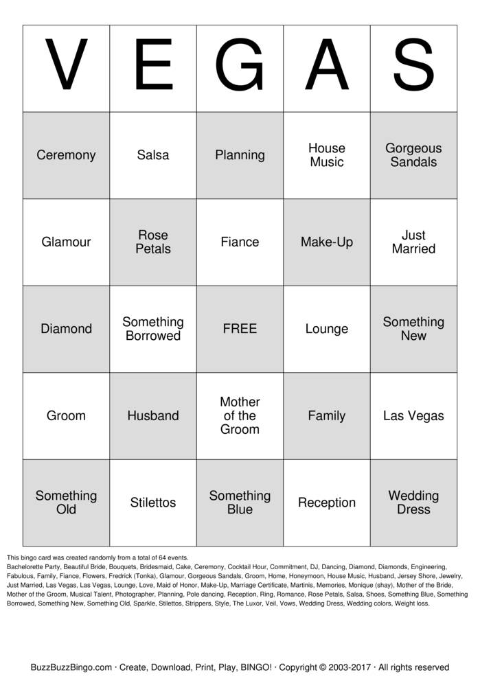 A Vegas Bridal Shower Bingo Bingo Card