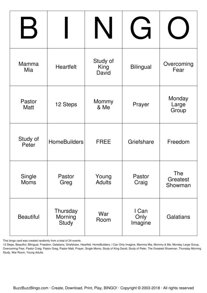 Download Free Beautiful Groups Fall 2018 Bingo Cards