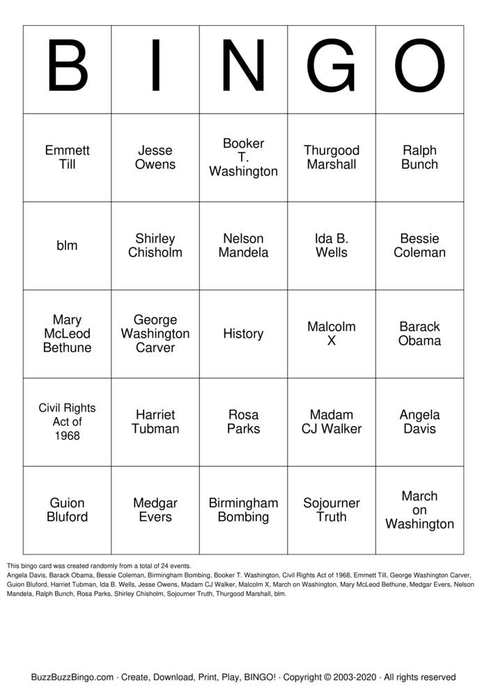 Download Free Black History Bingo Cards