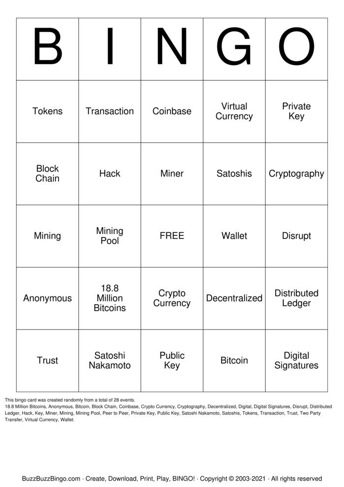 Download Free Cryptocurrency Bingo Cards