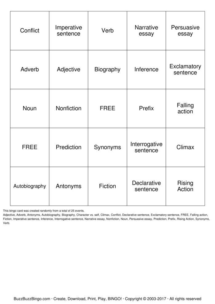 Download Free Language Arts Bingo Cards