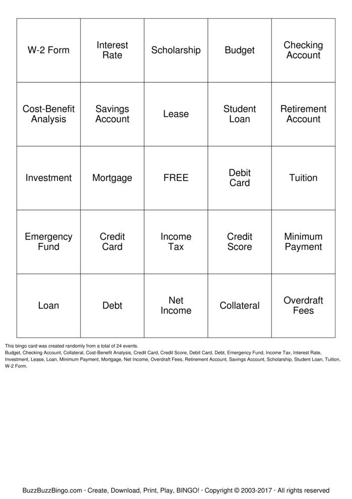 Download Money Management Bingo Cards