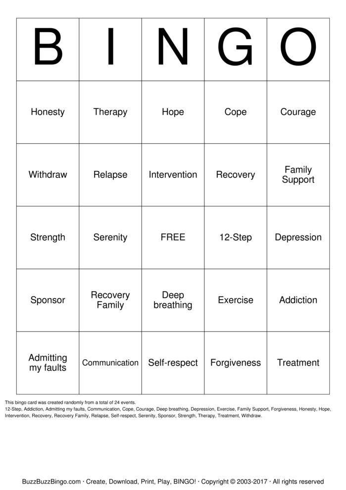 Download Free Recovery Bingo Bingo Cards