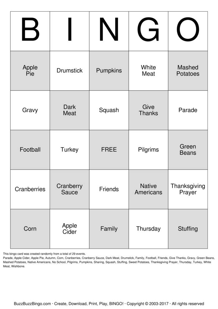 Download Thanksgiving Bingo Cards