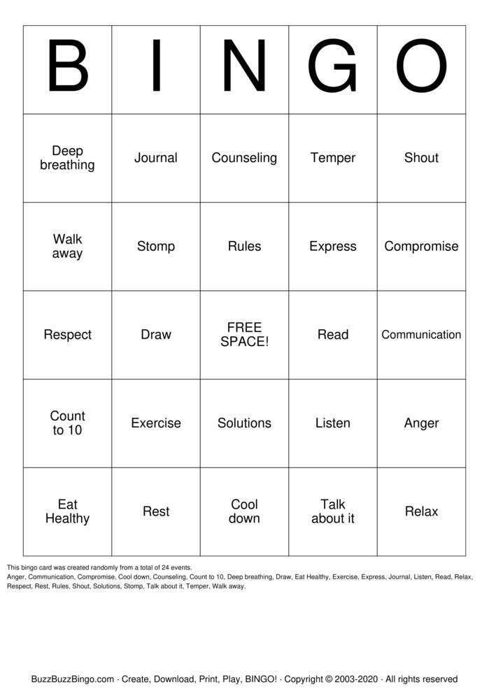 Download Free ANGER Bingo Cards