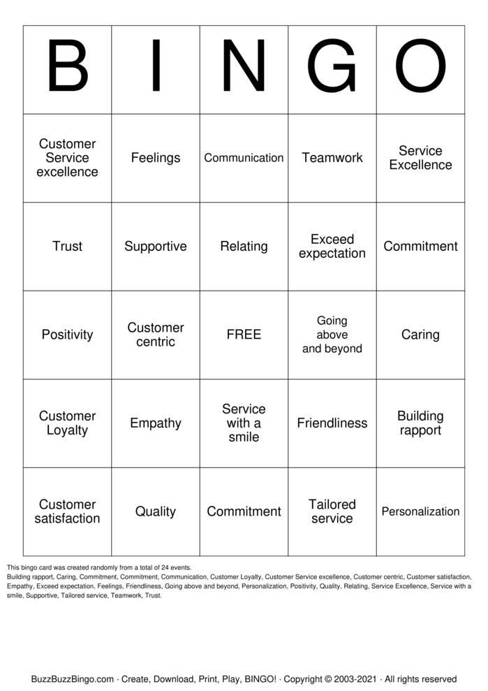 Download Free CUSTOMER SERVICE  Bingo Cards