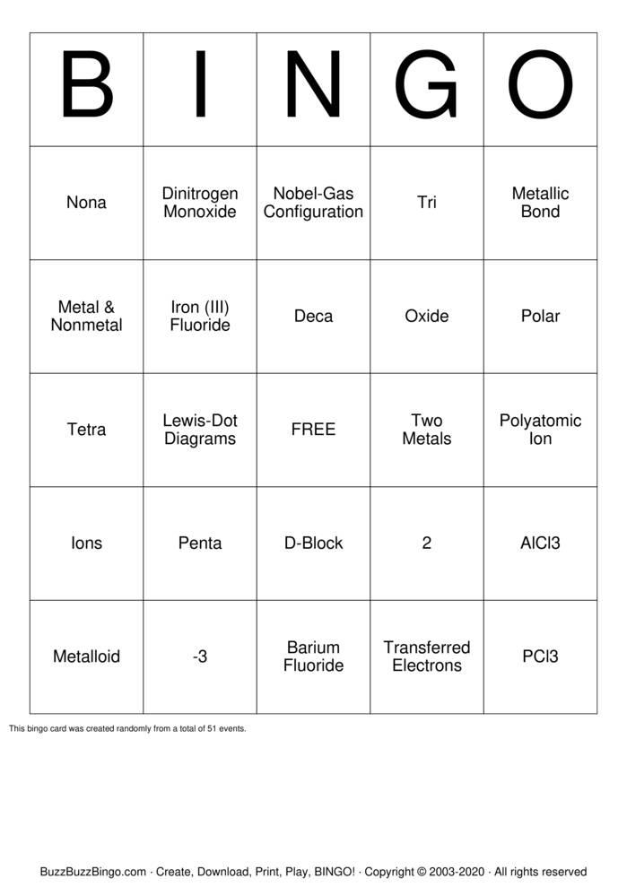 Download Free Chemical Bonds Bingo Cards
