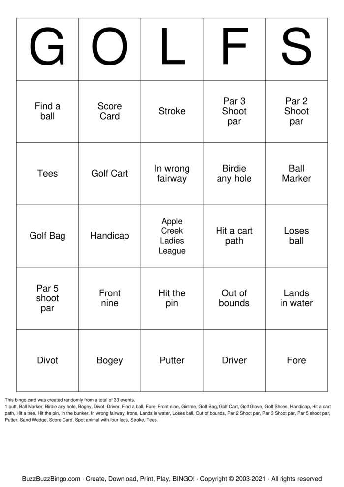 Download Free Golf Bingo Cards
