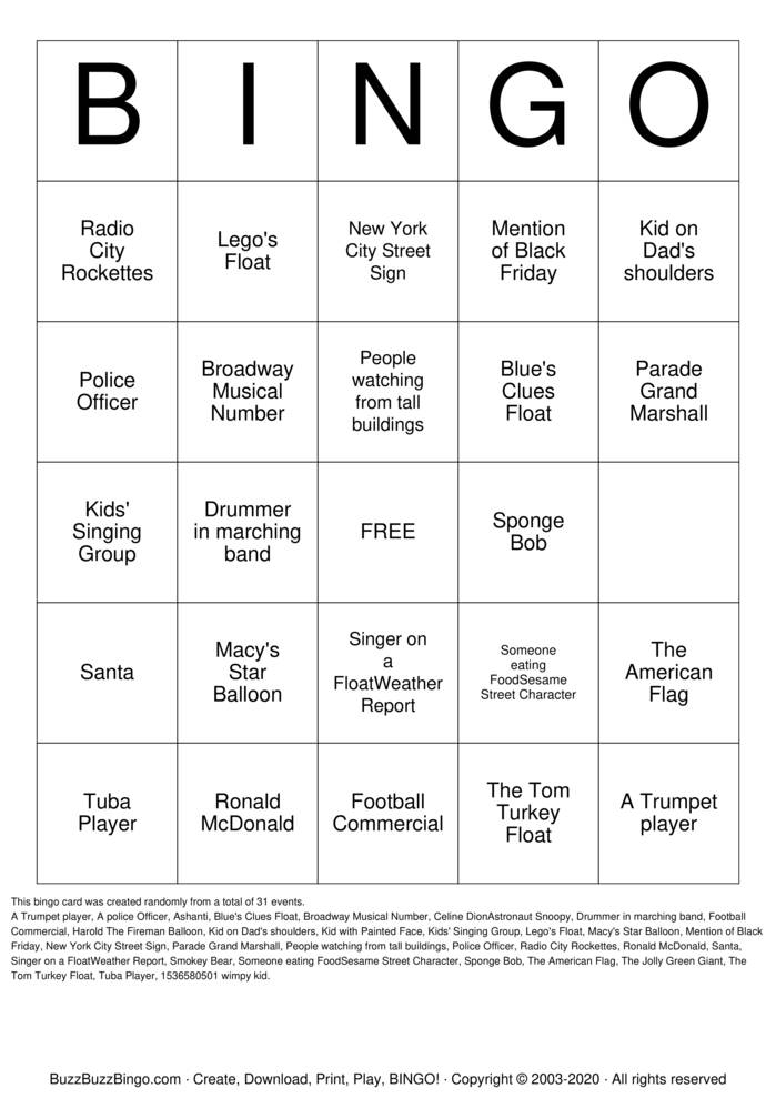 Download Free MACY'S PARADE BINGO! Bingo Cards
