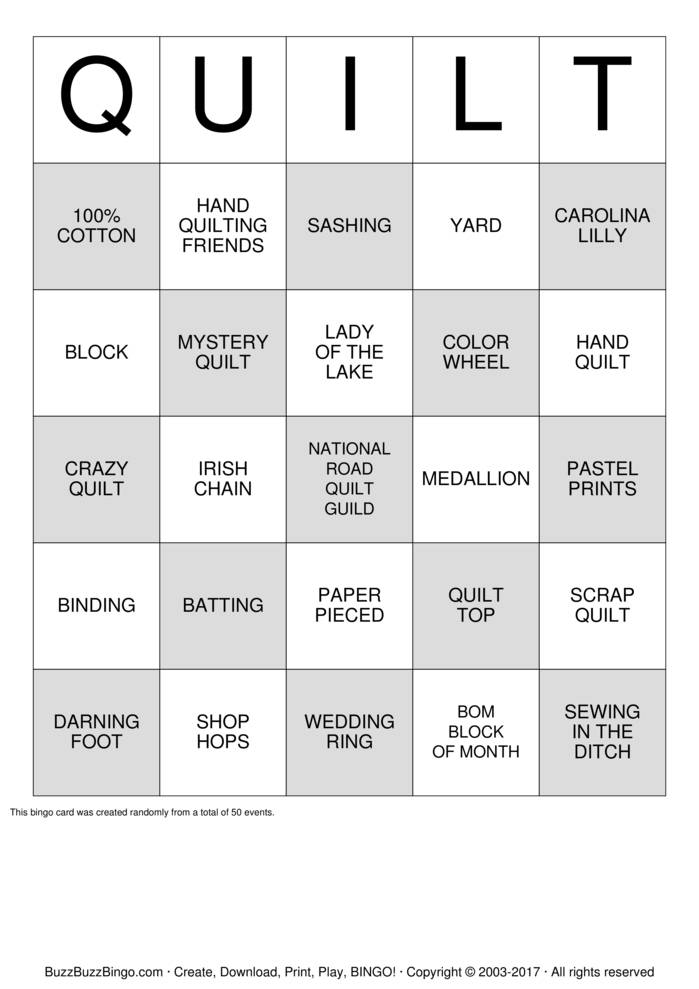 Download Free National Road Quilt Guild Bingo Cards