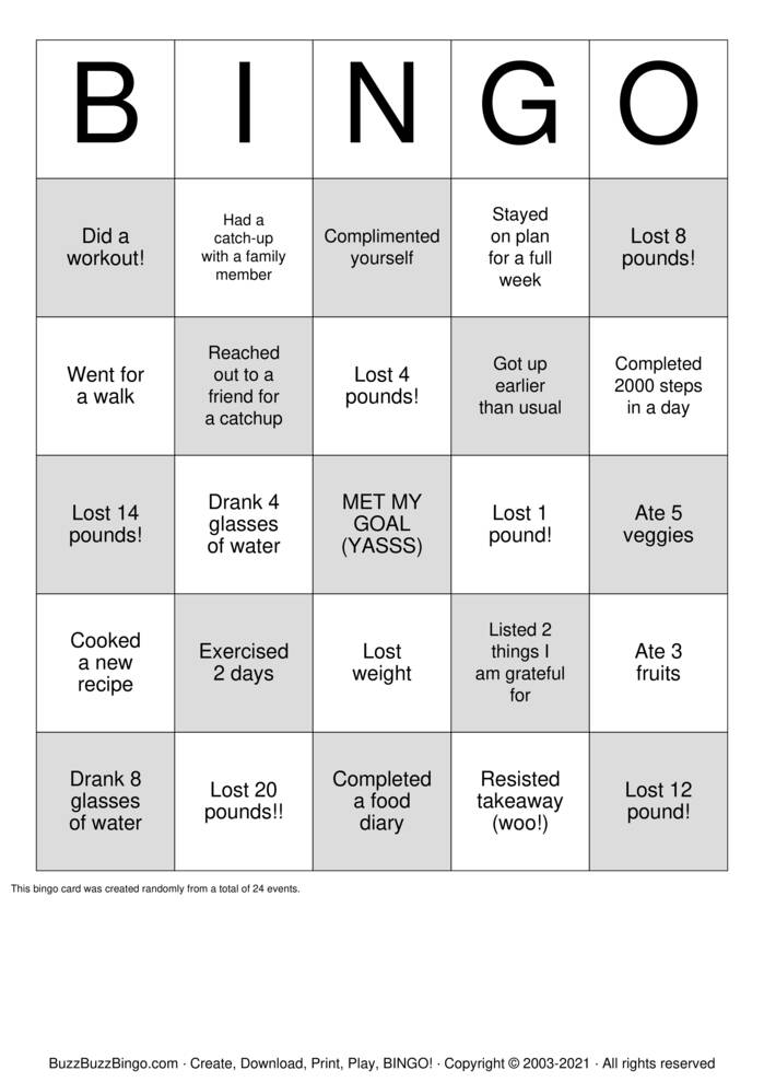Download Free Skinnyo Weight-Loss Bingo! Bingo Cards