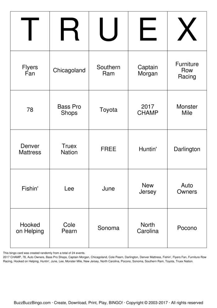 Download Free TRUEX Bingo Cards