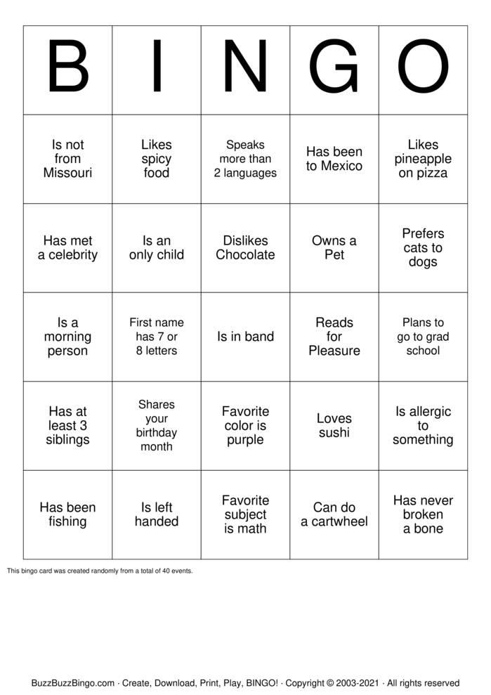 Download Free Autograph Bingo Cards