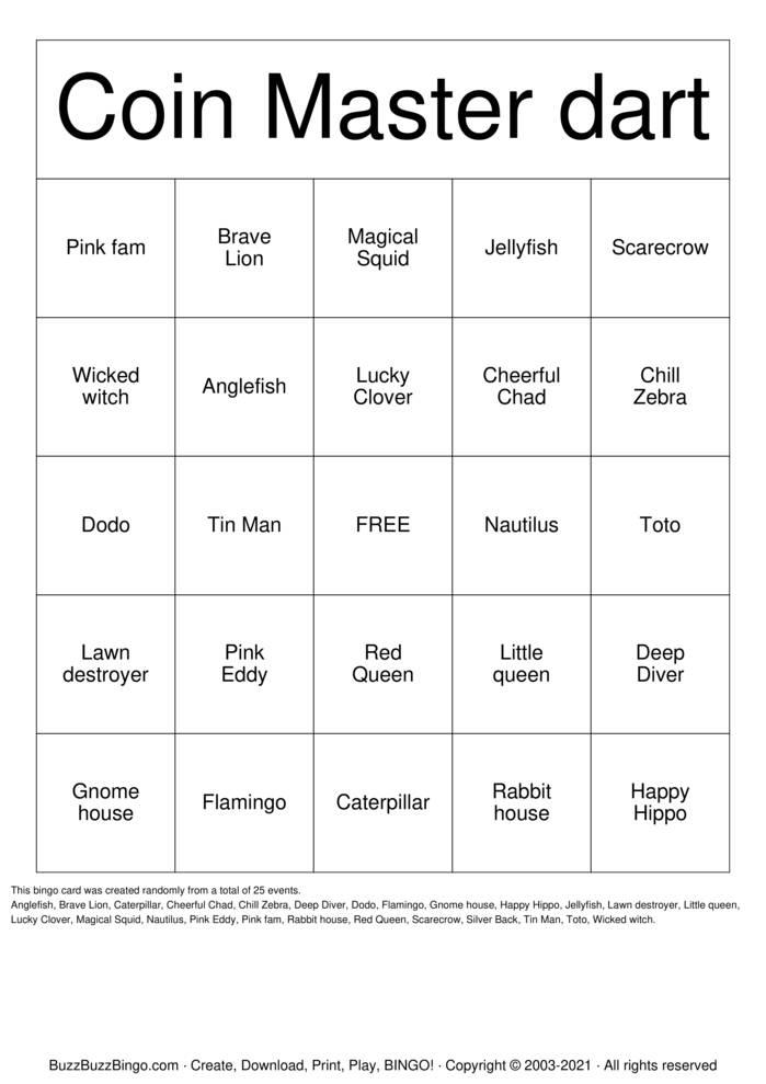 Download Free Coin Master Bingo Bingo Cards